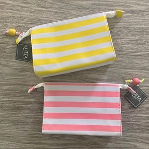 2 Striped Ulta Beauty Make Up Bags 🍍🌴🐳 NWT